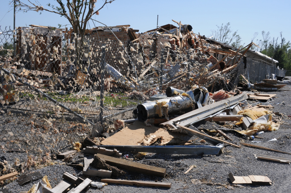 Disaster Scene from Deadly Tornado in Yazoo City, Mississippi